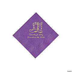 Amethyst Cowboy Boots Personalized Napkins with Gold Foil - Beverage