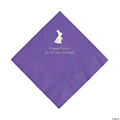 Amethyst Easter Bunny Personalized Napkins with Silver Foil - Luncheon