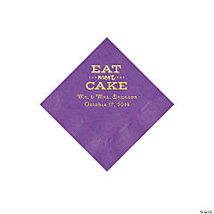 Amethyst Eat Cake Personalized Napkins with Gold Foil - Beverage