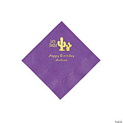 Amethyst Fiesta Personalized Napkins with Gold Foil - Beverage