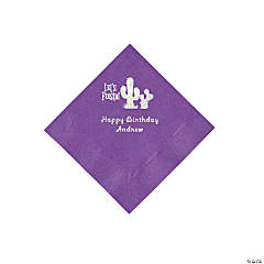 Amethyst Fiesta Personalized Napkins with Silver Foil - Beverage