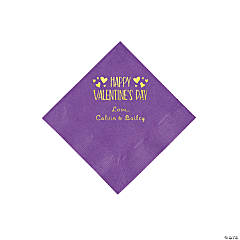 Amethyst Happy Valentine's Day Personalized Napkins with Gold Foil - Beverage
