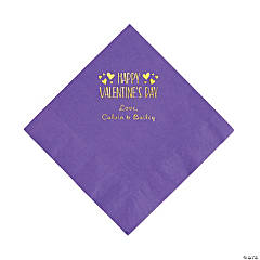 Amethyst Happy Valentine's Day Personalized Napkins with Gold Foil - Luncheon