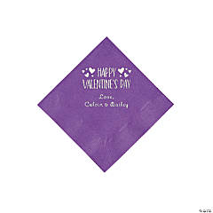 Amethyst Happy Valentine's Day Personalized Napkins with Silver Foil - Beverage