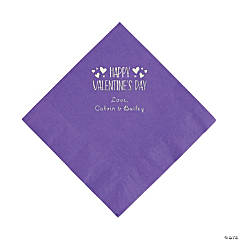 Amethyst Happy Valentine's Day Personalized Napkins with Silver Foil - Luncheon
