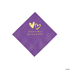 Amethyst Hearts Personalized Napkins with Gold Foil - Beverage