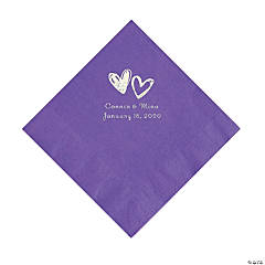Amethyst Hearts Personalized Napkins with Silver Foil - Luncheon