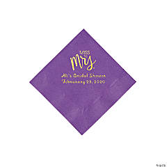 Amethyst Miss to Mrs. Personalized Napkins with Gold Foil - Beverage