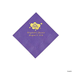 Amethyst Oh Baby Personalized Napkins with Gold Foil - Beverage