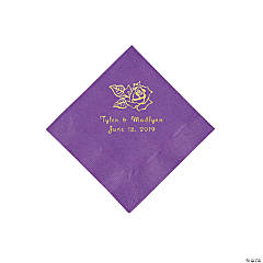 Amethyst Rose Personalized Napkins with Gold Foil - Beverage