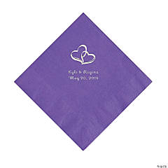 Amethyst Two Hearts Personalized Napkins with Silver Foil - Luncheon