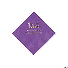 Amethyst We Do Personalized Napkins with Gold Foil - Beverage