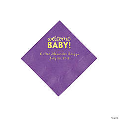 Amethyst Welcome Baby Personalized Napkins with Gold Foil - Beverage