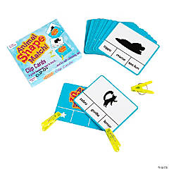 Animal Shape Matching Clip Cards