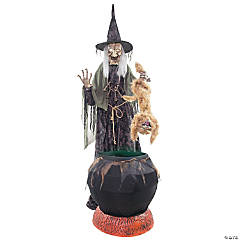 Animated Witch with Cat & Cauldron Halloween Decoration