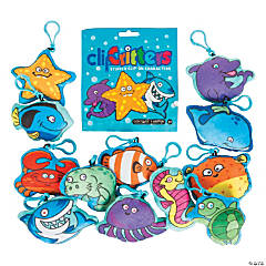 Aquatic Plush Sea Critters with Clip Blind Bags
