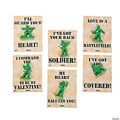 Army Guy Erasers with Valentine's Day Cards - 24 Pc.
