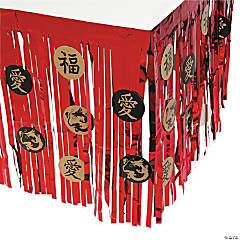 Asian Metallic Fringe Plastic Table Skirt with Cutouts