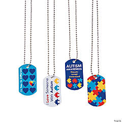Autism Awareness Dog Tag Necklaces