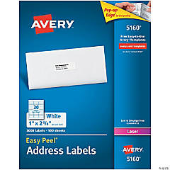 """Avery® Easy Peel® Address Labels, Permanent Adhesive, 1"""" x 2-5/8"""", 3,000 Labels"""