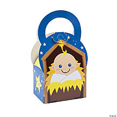 Baby Jesus Mini Nativity Treat Boxes - 12 Pc.