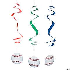 Baseball Hanging Swirl Decorations - 12 Pc.