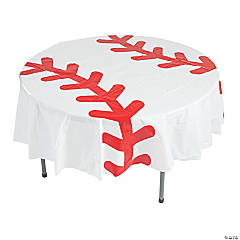Baseball Round Plastic Tablecloth