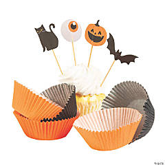 Basic Boo Cupcake Liners with Picks