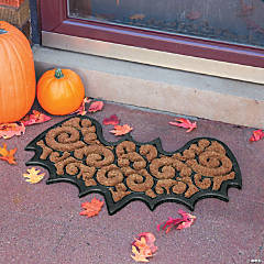 Bat-Shaped Coir Mat Halloween Decoration