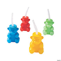 Bear-Shaped Cups with Straws