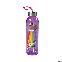 Believe Unicorn Glass Water Bottle with Lid