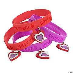 Best Valentine Ever Rubber Bracelets with Charm