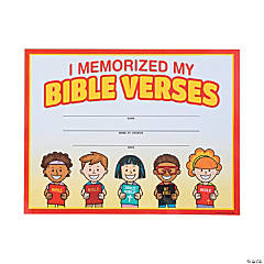 Bible Verse Memorization Certificates of Completion