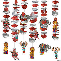 Big Top Hanging Spiral Decorations - 12 Pc.