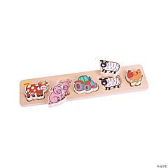 Bigjigs Toys Chunky Lift & Match Farm Jigsaw Puzzle, 6 Pcs