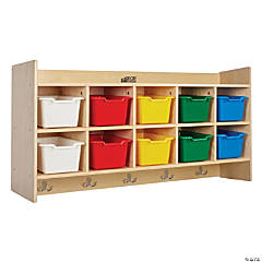 Birch 10-Section Hanging Coat Locker with Shelf with Bins - Assorted