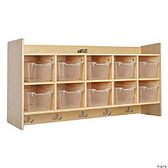 Birch 10-Section Hanging Coat Locker with Shelf with Bins - Clear