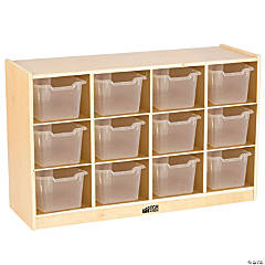 Birch 12 Cubby Tray Cabinet with  Clear Bins