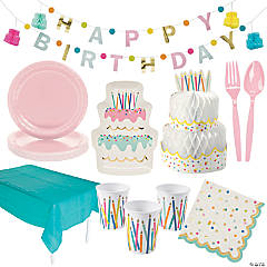 Birthday Cake Party Tableware Kit for 8 Guests