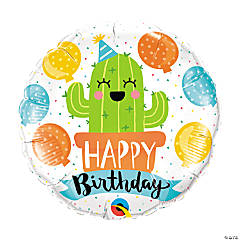 Birthday Party Cactus Mylar Balloon