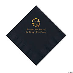 Black 4-Leaf Clover Personalized Napkins with Gold Foil - Luncheon