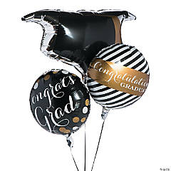 Black & Gold Graduation Mylar Balloons