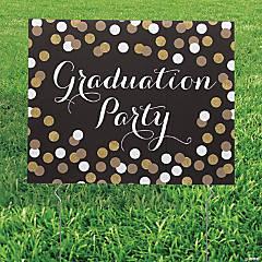 Black & Gold Graduation Yard Sign