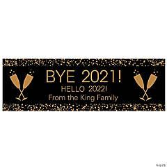 Black & Gold New Year's Eve Party Custom Banner