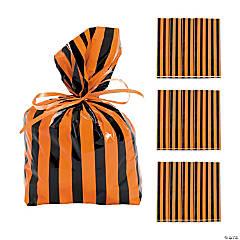 Black & Orange Striped Cellophane Bags