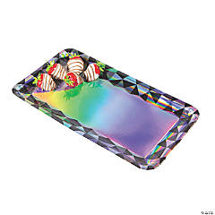 Black & Silver Iridescent Rectangle Serving Trays