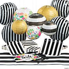 Black & White Bridal Shower Tableware Kit for 25 Guests
