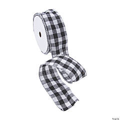 Black & White Buffalo Check Ribbon - 2""