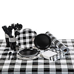 Black & White Buffalo Plaid Tableware Kit for 24 Guests