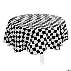 Black & White Checkered Round Tablecloth